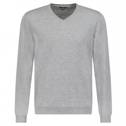 Pullover aus Pima Baumwolle 'Coca' mit V-Ausschnitt  grau (B20 Grey) | XXXL