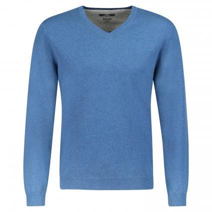 Pullover aus Pima Baumwolle 'Coca' mit V-Ausschnitt  blau (BCWS8182 Royal)   S