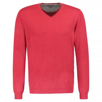 Pullover aus Pima Baumwolle 'Coca' mit V-Ausschnitt  rot (B4416 Red) | M