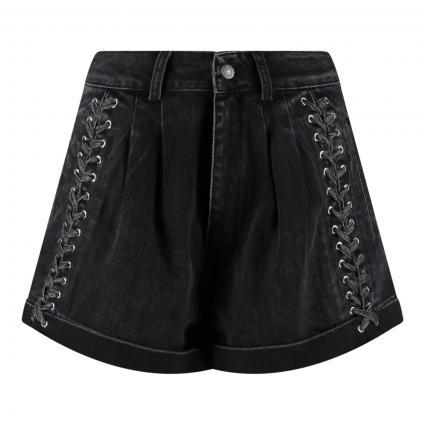 Jeans-Bermuda mit Bundfalten und Zierschnürung schwarz (BLA55 BlACK WASHED) | 36