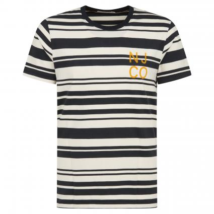 T-Shirt 'Roy' in Streifen-Optik ecru (offwhite black) | M