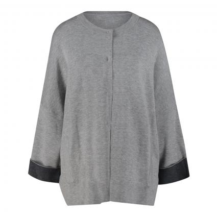 Oversize Strickjacke mit kontrastfarbigen Details grau (01 mid grey/anthrazi) | 38