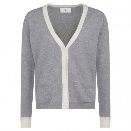 Strickjacke mit V-Ausschnitt aus Cashmere grau (981 flower grey) | 42