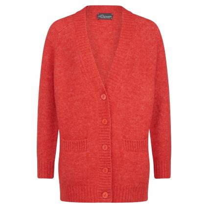 Oversize-Strickjacke mit V-Ausschnitt rot (1424 firebrick)   44