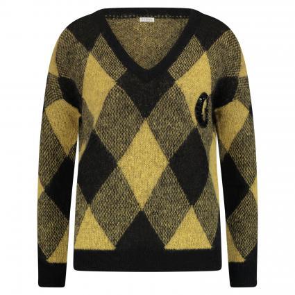 Pullover mit V-Ausschnitt gelb (F20B YELLOW/BLACK FA) | M