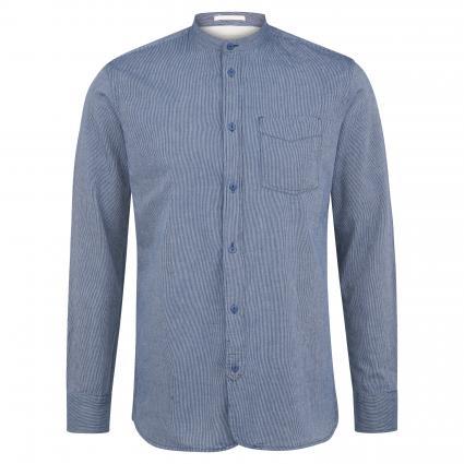 Slim-Fit Hemd 'Slimgo' mit Stehkragen marine (Mid Blue Denim Stripe) | XXL