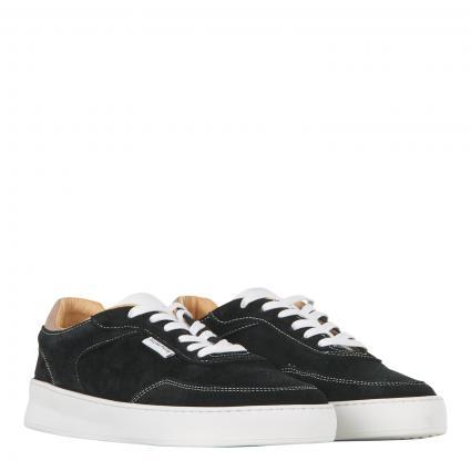 Sneaker aus Leder mit Kontrastsohle schwarz (black) | 41