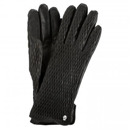 Lederhandschuhe mit gesmokten Details schwarz (000 BLACK) | 7