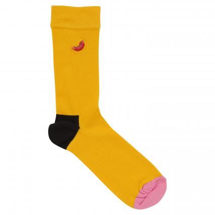 Socken mit Motiv-Stickerei gelb (2220 hotdog)   41-46