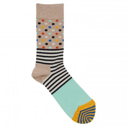 Socken mit All-Over Muster beige (3000 striped dot) | 41-46