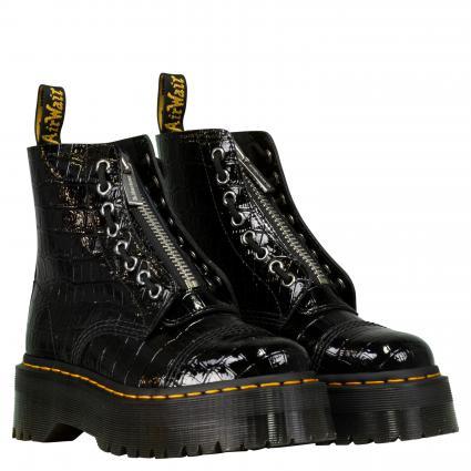 Lackleder Boots 'Sinclair' schwarz (CROC EMBOSS PATENT L) | 36