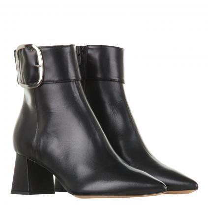 Stiefelette aus Leder mit Zierschnalle schwarz (NATUR NERO) | 39