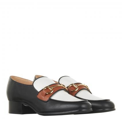 Slipper aus Leder mit dekorativer SChna schwarz (CALF NERO) | 39