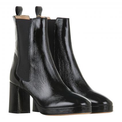 Stiefeletten aus Leder mit elastischem Einsatz schwarz (NAPLAK-NERO)   38
