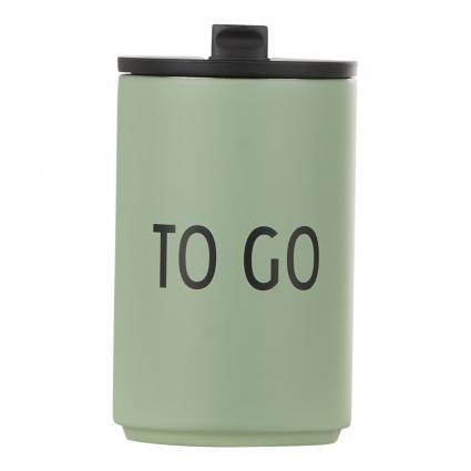 Thermobecher mit Schriftzug grün (TO GO - GREEN) | 0