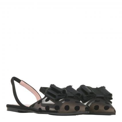 Slingback-Ballerina mit Polka Dots-Muster schwarz (MARAH BLACK)   39