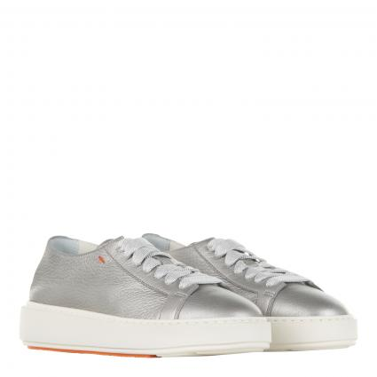 Ledersneaker in Metallic-Optik silber (SILVER-D60) | 38,5