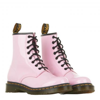 Boots aus Leder in Lack-Optik rose (PALE PINK PATE) | 37