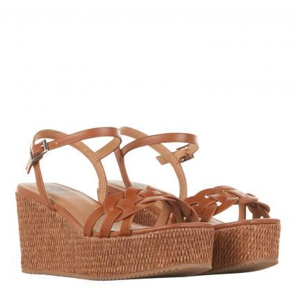 Sandaletten mit Plateau cognac (CUERO) | 37