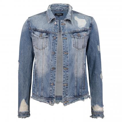 Jeansjacke 'Kyrin' aus Baumwolle im Used-Look blau (5111 sky blue ripped)   M