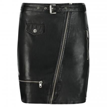 Lederrock 'Roxy' mit Gürtel und Zipperdetails schwarz (900 BLACK)   L