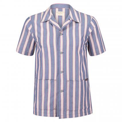 Kurzärmeliges Hemd 'Svante' blau (cuban stripe) | L