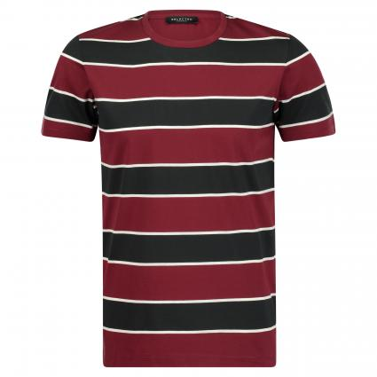 T-Shirt 'Jacob' mit Streifenmuster bordeaux (Chocolate Truffle) | S