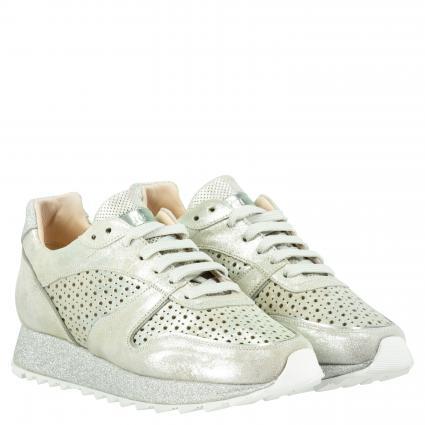 Sneaker aus Leder mit Perforierungen silber (VEGA ARGENTO)   39
