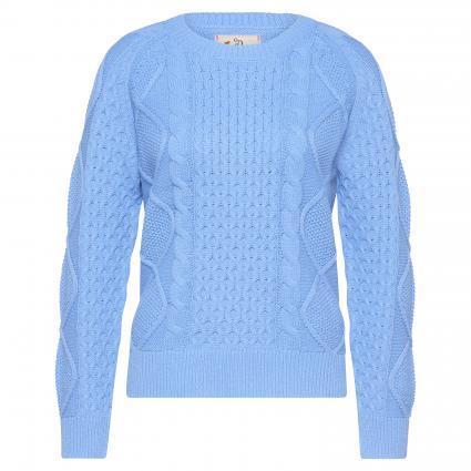 Pull tricoté avec motif tressé bleu (blue sky) | XL