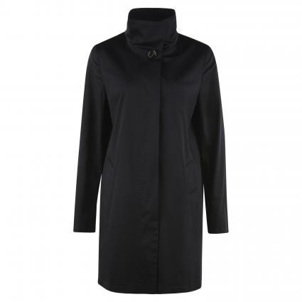 Lange Jacke mit Stehkragen und Zierknopf schwarz (9042 Jet Black) | 42