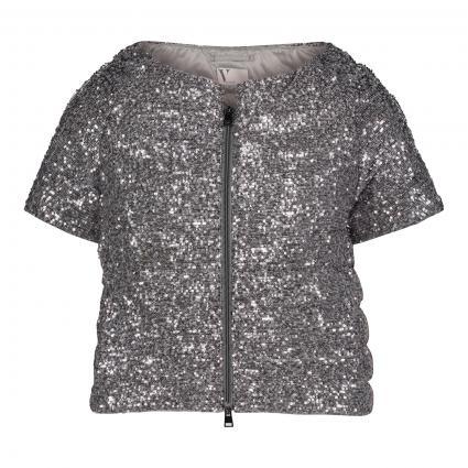 Kurzärmelige Jacke mit Pailletten-Besatz silber (9151 Light Silver Cl) | 42