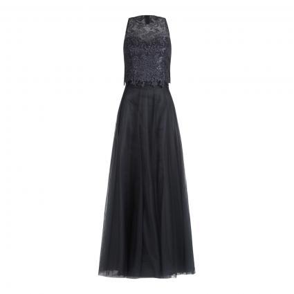 Abendkleid mit Spitzen-Details schwarz (9048 Phantom) | 36