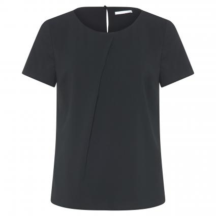 Kurzarmbluse 'Ivuni' mit Faltendetail schwarz (001 Black) | 38