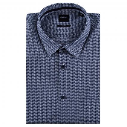 Slim-Fit Hemd mit All-Over Muster marine (405 Dark Blue)   M
