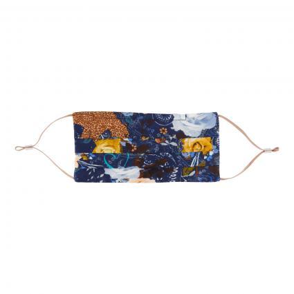 Maske mit All-Over Druck aus reiner Seide marine (02 navy blue) | 0