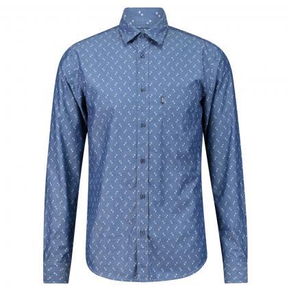 Hemd mit Webmuster marine (404 Dark Blue) | L