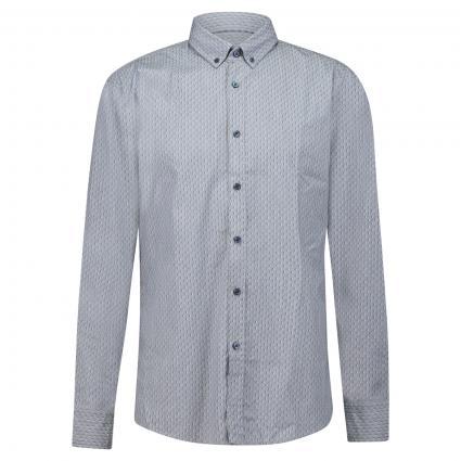 Slim-Fit Hemd 'Mabsoot' mit Button-Down Kragen und All-Over Muster marine (407 Dark Blue) | XL