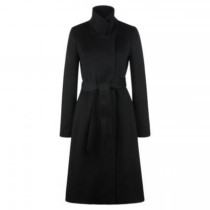 Wollmantel mit verdeckter Leiste schwarz (001 Black) | 40