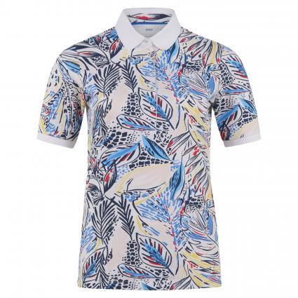 Poloshirt 'Cleo' mit All-Over Muster blau (23 INDIGO) | 34
