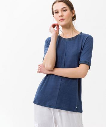 T-Shirt 'Cathy' mit Bortendetail blau (23 INDIGO) | 40