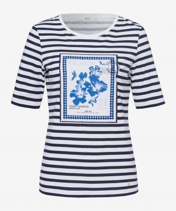T-Shirt 'Collette' mit Print und Paillettenbesatz marine (22 NAVY) | 36