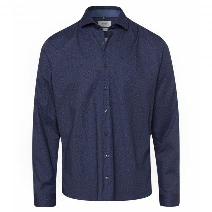 Hemd 'Harold' mit All-Over Muster marine (22 NAVY) | XXL