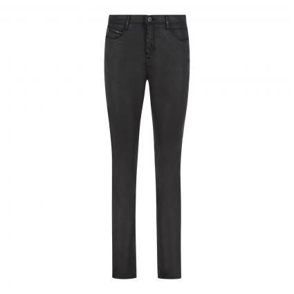 5-Pocket Hose 'Mary' in Glanz-Optik schwarz (02 CLEAN BLACK) | 38