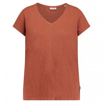 T-Shirt mit V-Ausschnitt  cognac (714 Cinnamon brown) | M