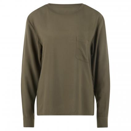 Fließende Bluse mit Brusttasche oliv (401 utility olive) | M
