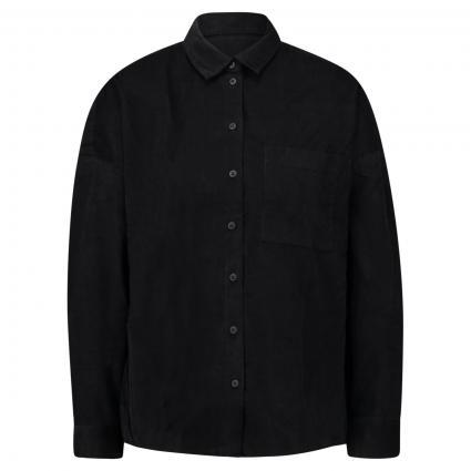 Hemdbluse aus Feincord schwarz (990 black) | M
