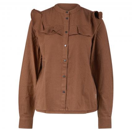 Bluse mit Rüschendetails und All-Over Pepita Muster braun (S11 multi/dark cocoa) | XS