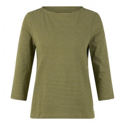 T-shirt mit 3/4-Arm und Streifen oliv (S58 multi/fresh herb) | L