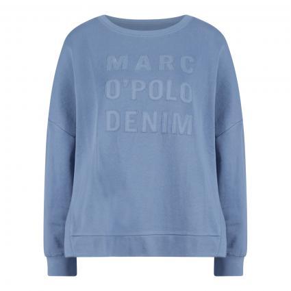 Sweatshirt mit Labelbesatz blau (862 soft heaven)   M