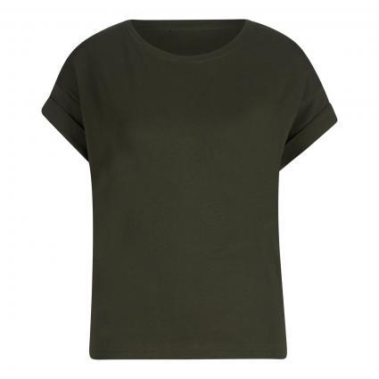 T-Shirt mit gekrempeltem Arm oliv (457 deep Depth) | L